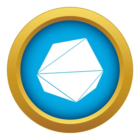 Origami stone icon blue vector isolated