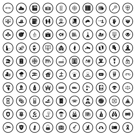 100 safety icons set in simple style for any design vector illustration