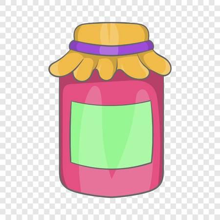 Jam in a glass jar icon, cartoon style Illustration