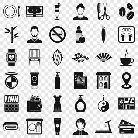 Beauty salon icons set, simple style