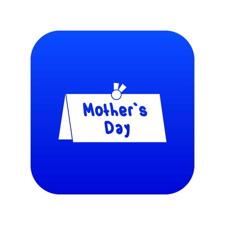 Mother Day postcard icon digital blue for any design isolated on white vector illustration