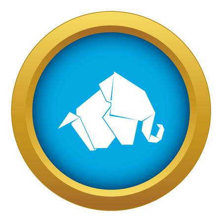 Origami elephant icon blue vector isolated on white background for any design Ilustração