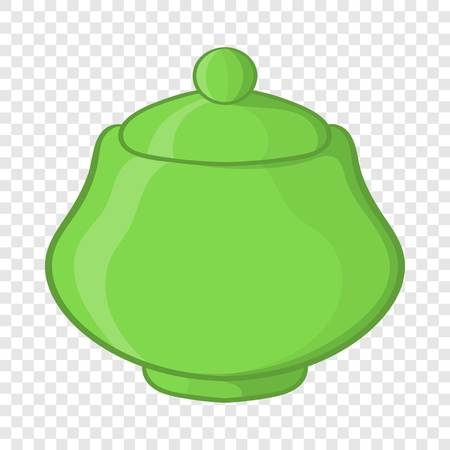 Green ceramic sugar bowl icon, cartoon style