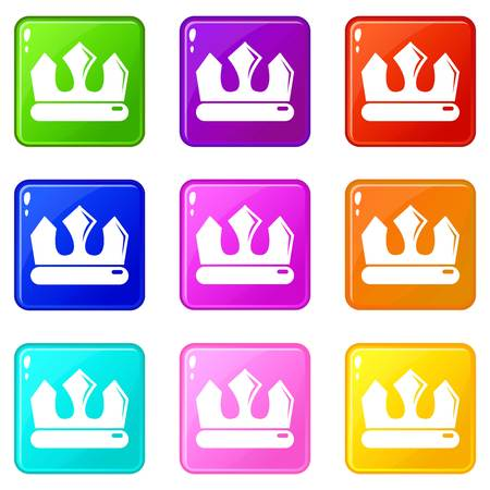 Bronze crown icons set 9 color collection isolated on white for any design