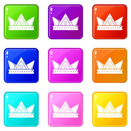 Diamond crown icons set 9 color collection