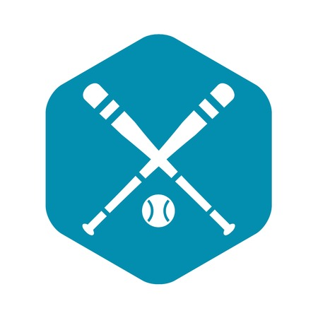 Baseball bat and ball icon, simple style Banque d'images - 124571059