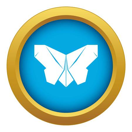 Origami butterfly icon blue vector isolated