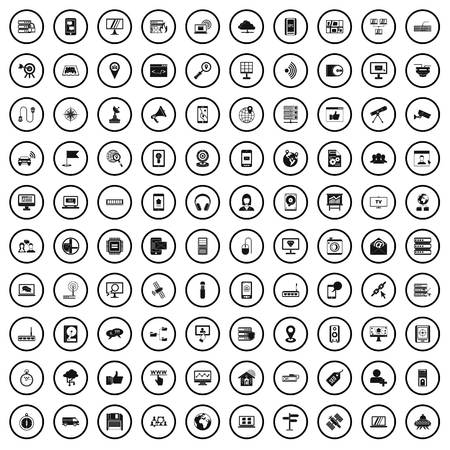 100 satellite connection icons set, simple style