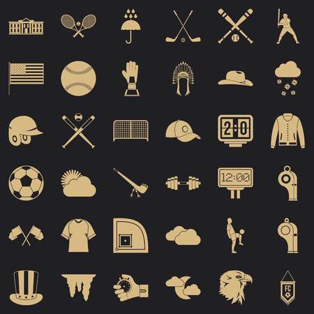 Sport icons set, simple style Banque d'images - 124571524