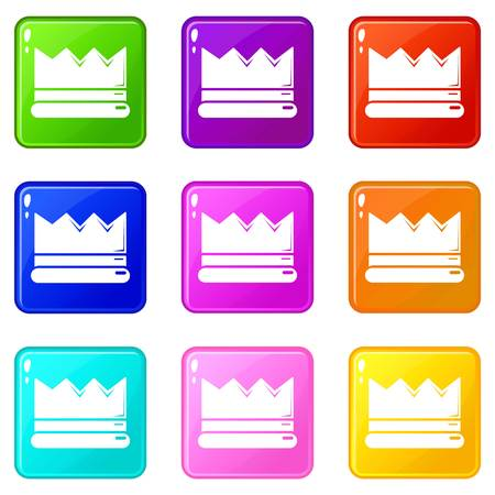 Silver crown icons set 9 color collection isolated on white for any design