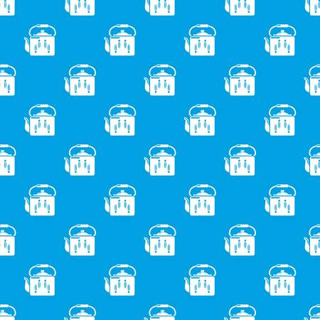 Kettle retro pattern vector seamless blue repeat for any use Illustration