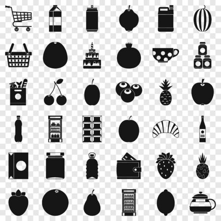 Different drinks icons set, simple style Vettoriali