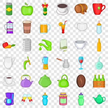 Food and drink icons set, cartoon style