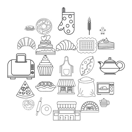 Biscuit icons set. Outline set of 25 biscuit vector icons for web isolated on white background