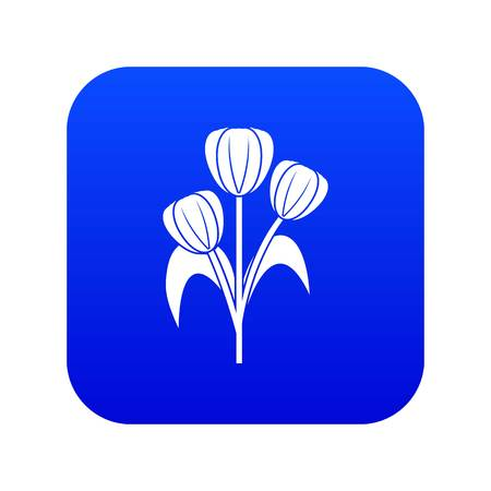 Flowers icon digital blue for any design isolated on white vector illustration