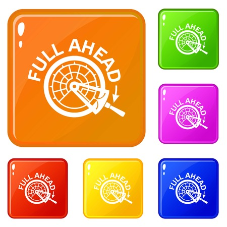 Full ahead icons set vector color