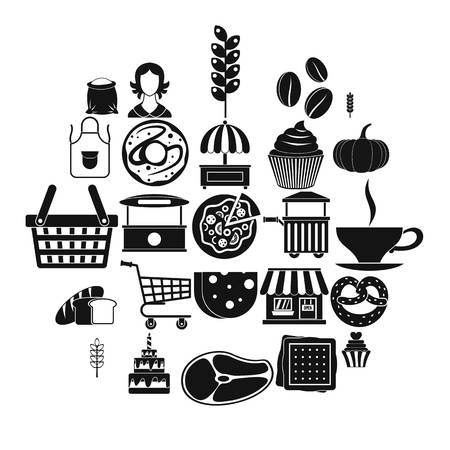 Afternoon snack icons set. Simple set of 25 afternoon snack icons for web isolated on white background Ilustrace