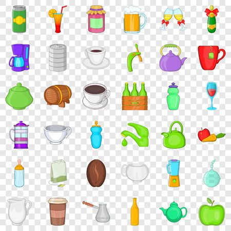Fruit and drink icons set, cartoon style Illustration