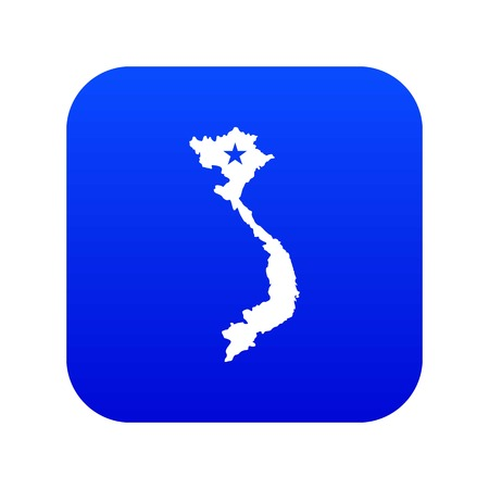 Vietnam map icon digital blue for any design isolated on white vector illustration Imagens - 124714872