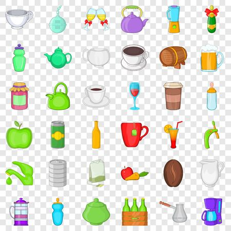 Beverage icons set, cartoon style