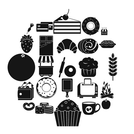Pastry icons set. Simple set of 25 pastry vector icons for web isolated on white background Ilustrace