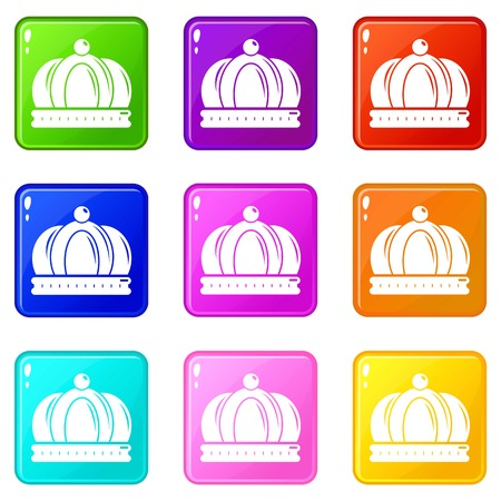 Empire crown icons set 9 color collection isolated on white for any design