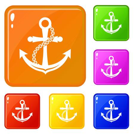 Anchor icons set vector color