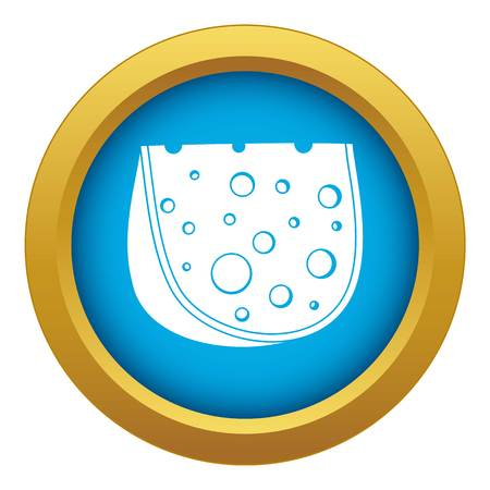 Cheese icon blue vector isolated