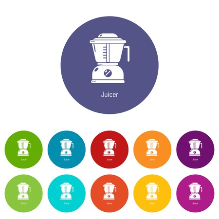 Juicer icons set vector color