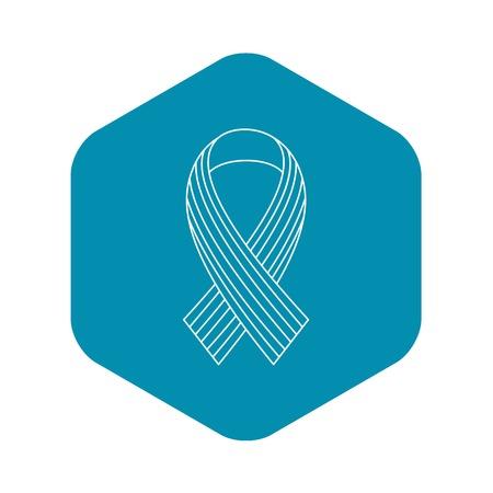 Ribbon LGBT icon, outline style Illustration