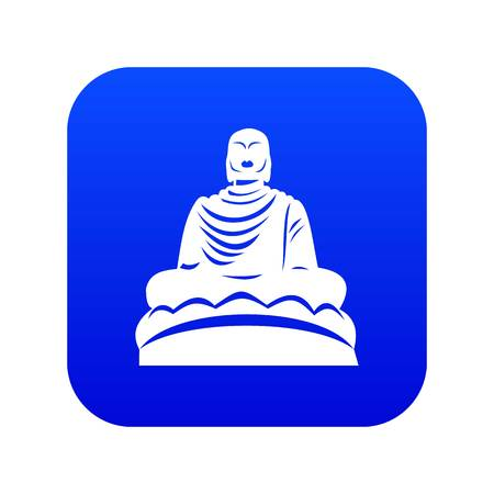 Buddha statue icon digital blue for any design isolated on white vector illustration
