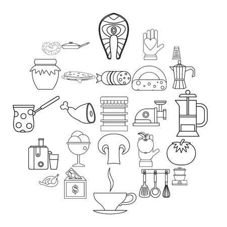 Jam icons set. Outline set of 25 jam vector icons for web isolated on white background Illustration