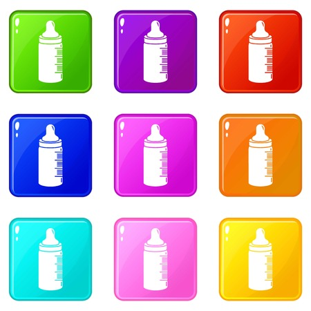 Baby bottle icons set 9 color collection isolated on white for any design Banque d'images - 124714924