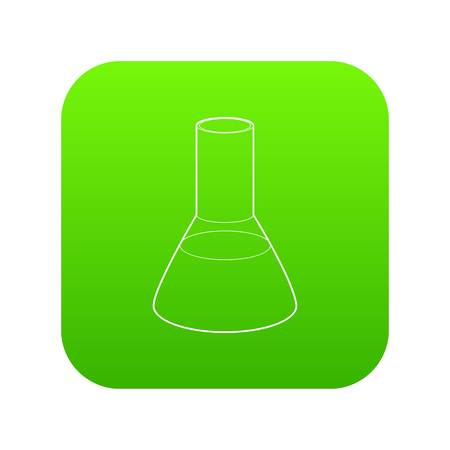 Laboratory flask icon in outline style isolated on white background. Experiment symbol Stock Vector - 124714926