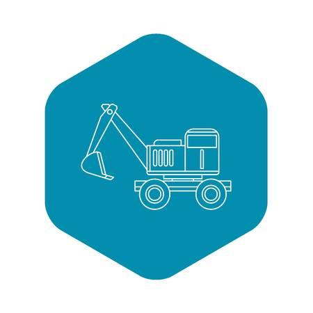 Excavator icon. Outline illustration of excavator vector icon for web Illustration