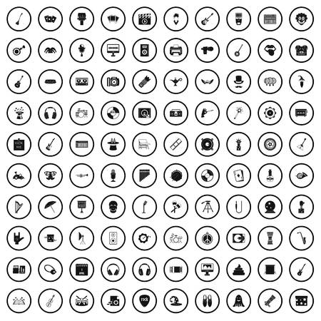 100 show business icons set in simple style for any design vector illustration
