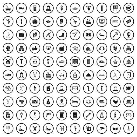 100 service icons set in simple style for any design vector illustration Standard-Bild - 124688429