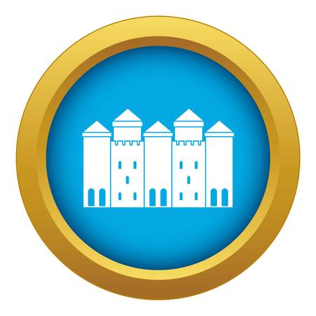 Old castle icon blue vector isolated on white background for any design