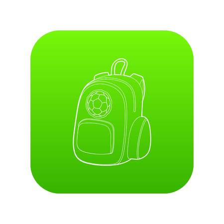 School backpack icon green vector isolated on white background