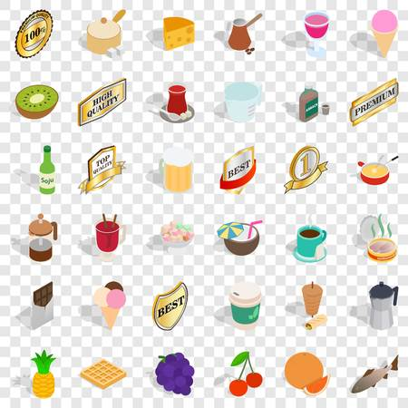 Best food icons set. Isometric style of 36 best food vector icons for web for any design