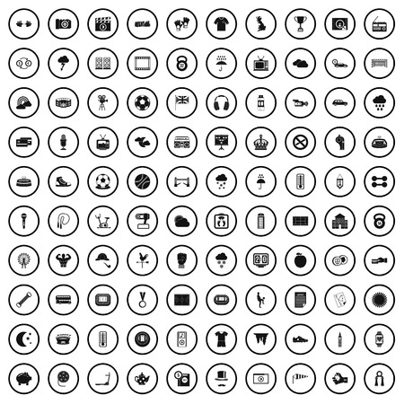 100 soccer icons set in simple style for any design vector illustration