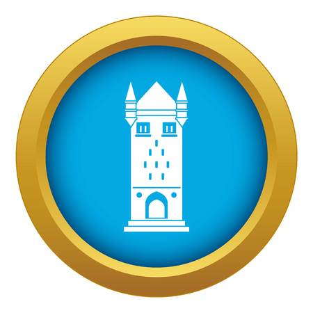Castle tower icon blue vector isolated on white background for any design