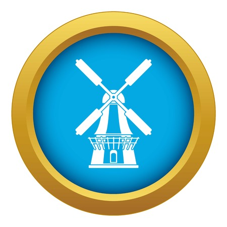 Windmill icon blue vector isolated