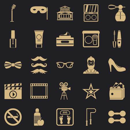Social events icons set, simple style