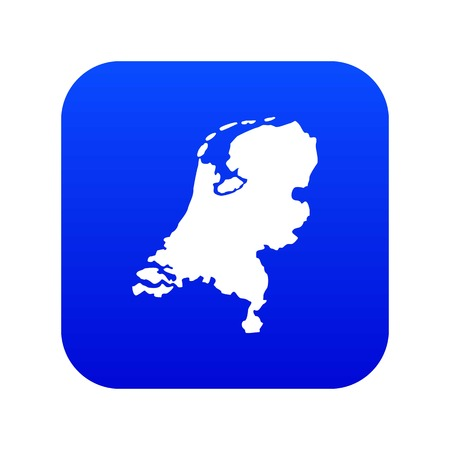 Holland map icon digital blue for any design isolated on white vector illustration  イラスト・ベクター素材
