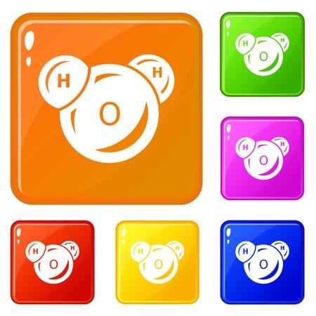 Water molecule icons set vector color