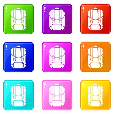 Backpack icons set 9 color collection isolated on white for any design Ilustração