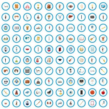 100 education icons set, cartoon style