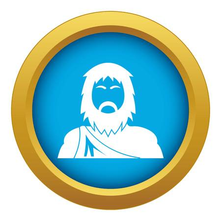 Neanderthal icon blue vector isolated