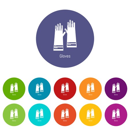 Gloves cleaning icons color set vector for any web design on white background Ilustração